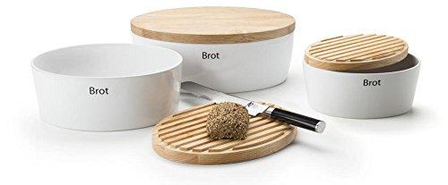 Continenta 3er Set Brottöpfe oval mit Holzdeckel, Brotkästen Deckel Rückseite als Schneidebrett nutzbar, in 3 Größen, Set by Danto®
