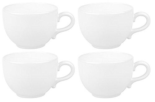 Faszination-Wohnen 4er Set Jumbotassen Weiß Suppentassen große Jumbo Tassen 600ml -