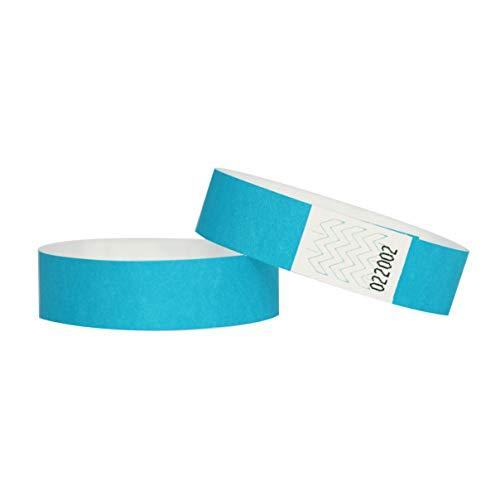 Confezione di 100braccialetti in carta Tyvek, 19mm, per eventi, festival,indistruttibili e personalizzabili,12colori disponibili 19mm Bleu clair