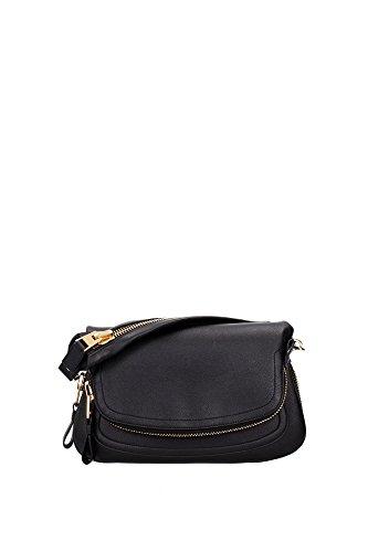 Bolso de Hombro Tom Ford Mujer Piel Negro y Black L0570TVENBLK Negro 8x16x31 cm
