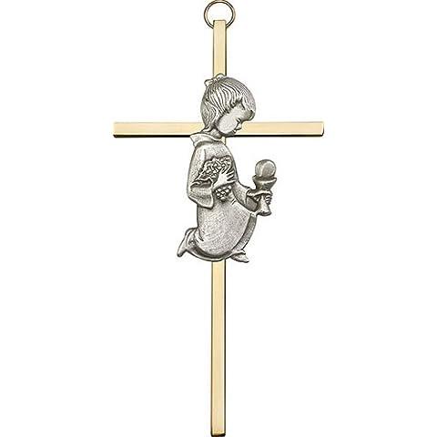 Icecarats Designer Di Gioielli Di 6 Pollici Argento Antico Comunione Ragazza Su Una Croce Di Ottone 6 X 3 Pollici