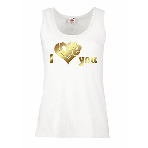 Femme Débardeur Sans manche Je t'aime guillemets, cadeaux - SAINT-VALENTIN Idées-cadeaux Blanc Multicolore