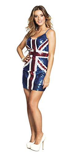 Themen Party England Kostüm - Boland 87151 - Paillettenkleid Dazzle England, Gröe M, blau
