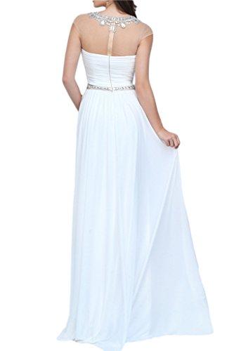 ivyd ressing Femme taumhaft A ligne pierres col rond Prom robe Lave-vaisselle robe robe du soir Weiß