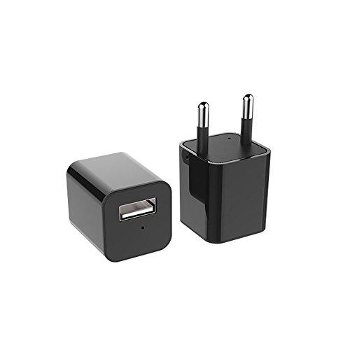 1080P HD AC Adapter tragbare kleine Kamera Mini kamera Überwachungskamera USB Aufladeeinheit Kamera mit Bewegungsmelder Fügen Sie mehrsprachige Bedienungsanleitung hinzu(Nicht im Lieferumfang enthalten SD-Karte) (Speicher Top Laden,)