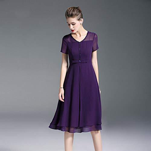 CVCCV 2019 Damenkleider Kleider FüR Besondere AnläSse Damen Sommer Taille Schlank Lila V-Ausschnitt Chiffon-Rock Mittellang (Besonderen Anlass Kleid)
