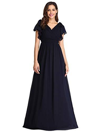 Ever-pretty vestito da sera donna chiffon linea ad a con volantes maniche corte scollo a v stile impero lungo blu navy 52