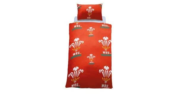 Wales FA Official Football Crest Single Duvet Cover Set With Pillowcase Poly//Cotton