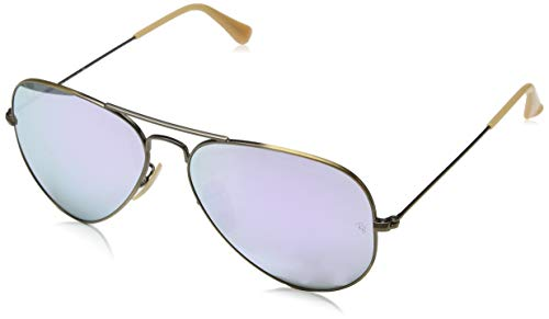 Ray Ban Sonnenbrille Aviator, 55 mm, Gestell: Bronze, Gläser: Rosa Blitz