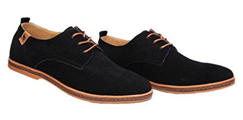 EOZY Richelieu à Lacet Cuir Pu Suédé Homme Style Anglais Chaussure De Ville Bureau Noir