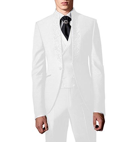 Suit Me Uomo 3 pezzi smoking festa nuziale del ricamo smoking abiti giacca, gilet, pantaloni HN112 Bianco