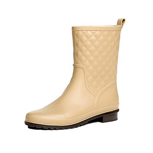Donna Stivali da Acqua Stivali da Pioggia Impermeabile Antiscivolo Stivali di Gomma Cuciture a Quadri Wellington Boots Stivali Chelsea