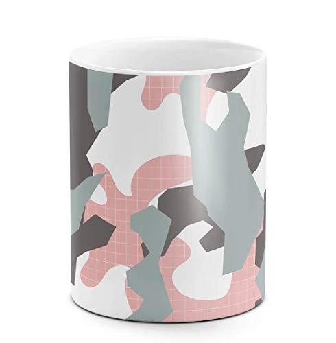 DODOX Kaffee-und Tee Tasse aus Keramik, 325 ml Pink Camouflage Camo Rosa Grau, weiß, Geburtstag, einzigartige Geschenkidee, lustiges