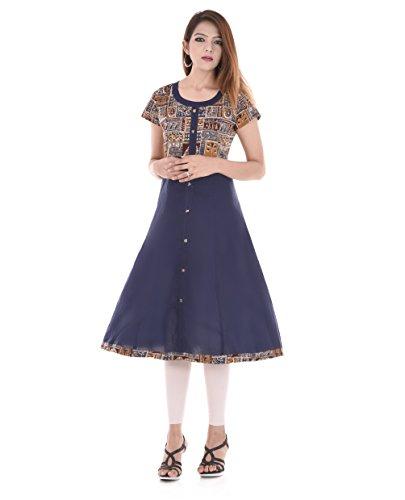 RAJMANDIRFABRICS Women's Cotton A-Line Kurti (Pk1015484-Xxl ,Blue Xx-Large)