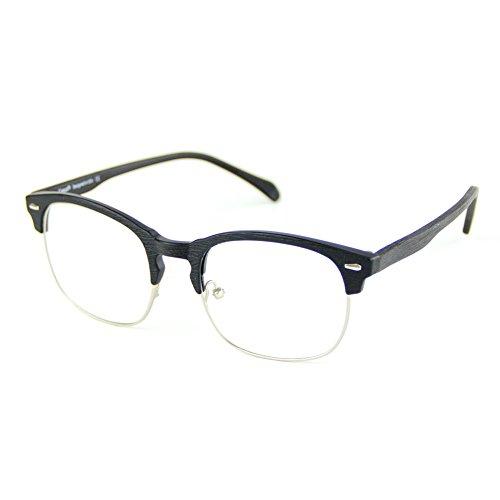 Cyxus TR90 licht flexibel blaue licht blockieren brille bildschirmbrille schützt die augen [transparente linse] anti augen ermüdung Besserer Schlaf (Matte Black Wood Grain Semi-Felgen-Rahmen)