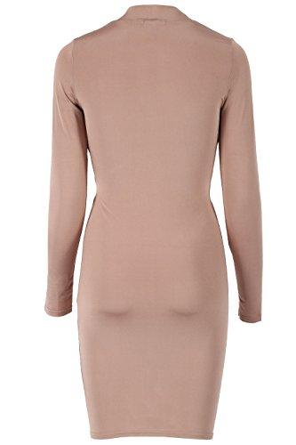 Damen Slinky Cross Front Langarm Bodycon Kleid EUR Größe 36-42 Rose