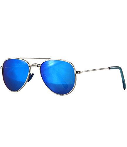 Caripe Kinder Mädchen Jungen Pilotenbrille verspiegelt Metall Sonnenbrille Retro - pil(One Size, 13001 - silber - blau verspiegelt)
