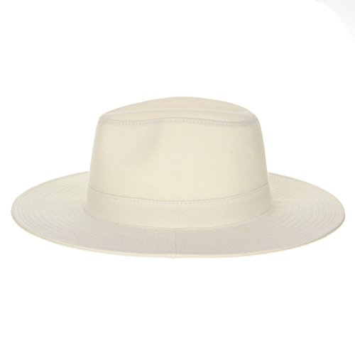 WITHMOONS Chapeau Panama Panama Hat Cotton Jersey Simple Plain Fedora Trilby DW8461 Ecru