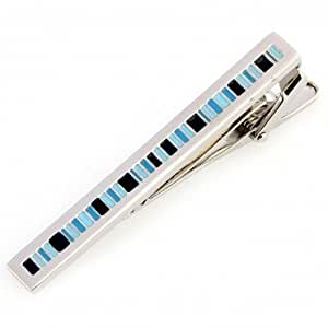 Mens Stylishly Striped Blue, Black & Silver Tie Clip with Alfred & Co. Jewellery Box