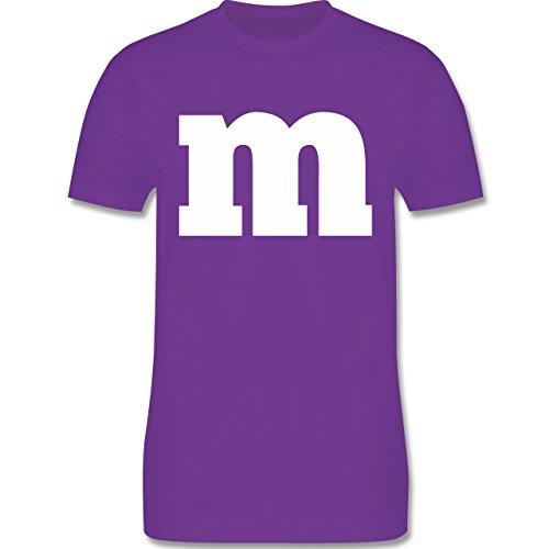 Karneval & Fasching - Gruppen-Kostüm m Aufdruck - M - Lila - L190 - Herren T-Shirt Rundhals