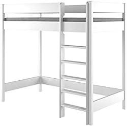 Lit mezzanine Hubi Loft Bunk Bed, monté par l'avant, Bois dense, blanc, 160x80x160