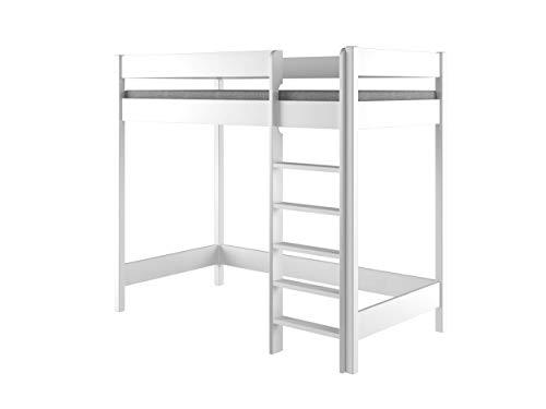 Lit mezzanine Hubi Loft Bunk Bed, monté par l'avant, Bois dense, blanc, 200x90x160