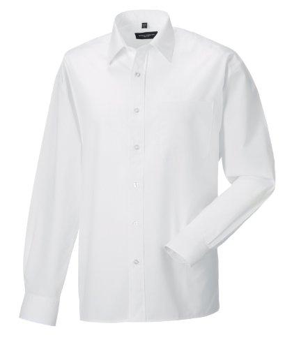 Z934 Langarm Popeline-Hemd Oberhemd Herren Hemd Russell XXL / 45/46,White (Damen Hemd Baumwoll-twill)