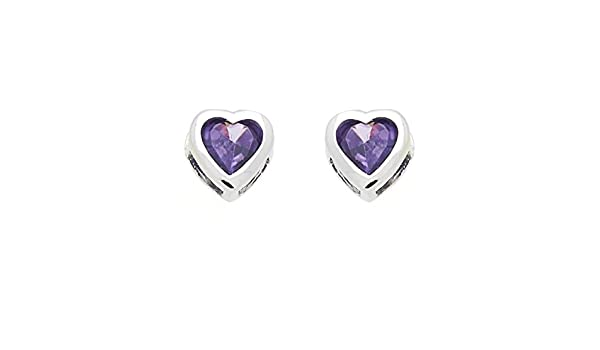 Little Treasures 14 ct White Gold Plated Sterling Silver Purple Heart CZ Stud Screw Back Earrings For Children /& Women