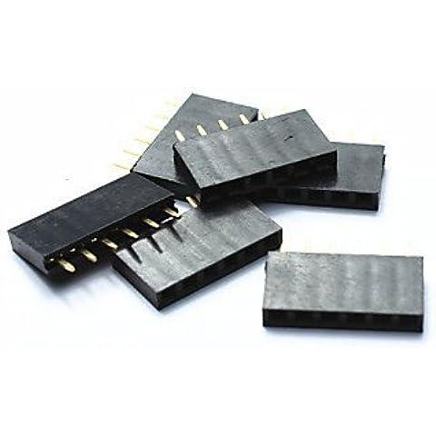 passo 2,54 mm jtron singola riga di intestazione pin 40-pin - nero (6pcs)