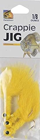Danielson Yellow Crappie Jig 1/8 Ounce - Marabou Tail/Chenille Body/Gold Hook