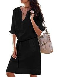 ffdcf52010de Donna Vestiti Eleganti Taglie Forti Corti V Scollo Mezza Manica Vestito  Mare Puro Colore Slim Casual