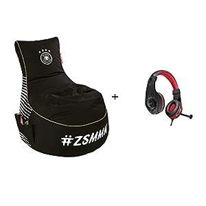 Gamewarez DFB Gaming Sitzsack mit EPS Füllung Sitzkissen Beanbag + Kopfhörer für PS4 schwarz