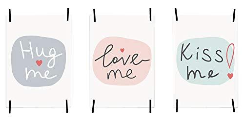 myprinti® 3er Set Bilder Sprüche Poster Kunstdruck Liebe Love | Schlafzimmer Bett Wohnzimmer | Wanddeko Deko | Größe DIN A3 | Hug me, Love me, kiss me, Pastell - Groß-poster-bett