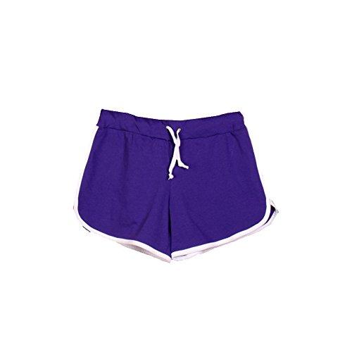 Deercon Frauen Casual Bademode Sport Shortpants Strand Boardshorts (12 Farben) Lila