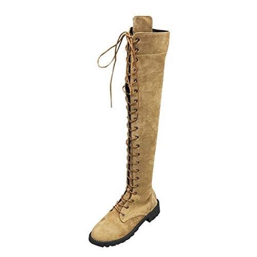 UFACE Damen Lace up Lange Knie Stiefel Damenschuhe Stretch Faux Slim Schnürschuh Hohe Stiefel Overknee Stiefel High Heels Schuhe(Khaki,39 EU)