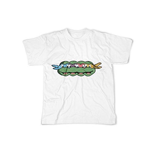 (Männer T-Shirt mit Aufdruck in Weiß Gr. L Ninja Schildkröte Comic Design Boy Top Jungen Shirt Herren Basic 100% Baumwolle Kurzarm)