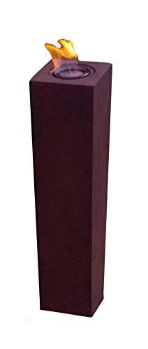 *Feuersäule Slim – Dekosäule – Feuertonne – Feuerstelle – Gartenfeuer – Feuerkorb – Dekoration – Feuer – Gusseisen Optik – 75 cm hoch – Rost – inkl. 400 g Kamingel*