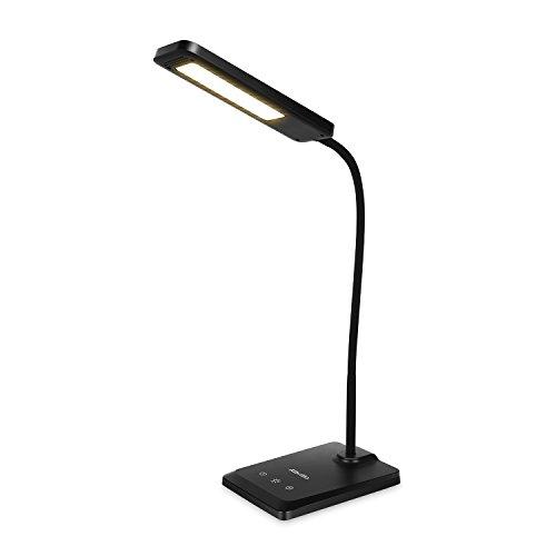 Albrillo Lampada da tavolo led dimmerabile 26 LED 6 W, Lampada da Scrivania e Ufficio con Porta USB ,3 livelli di illuminazione e almeno 6 modalità di luminosità