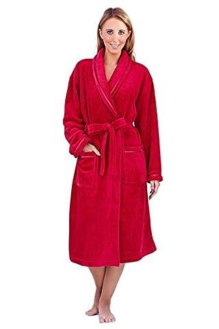 Femmes Loungeable Boutique Long Polaire Robe Doux Robe De Chambre - Rouge, Taille L - EU 44-46