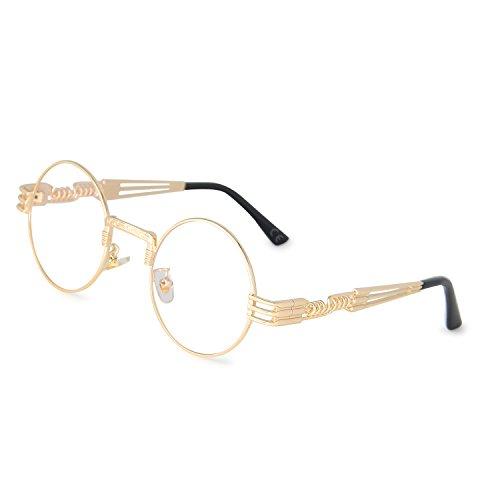 AMZTM Retro Steampunk Verspiegelt Sonnenbrille Klassischer Kreis Hippie Brille für Damen Herren Polarisierte Linse Runder Metallrahmen UV400 Schutz Alte Mode Brille (Golden Rahmen klar Linse, 49)