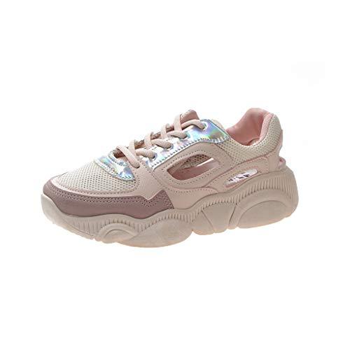 CUTUDE Damen Herren Sneaker Laufschuhen Kühlen Mesh Ultra-Leicht Sport Outdoor Schuhe Mit Schnürung Sneaker Mädchen Schuhe (Rosa, 37 EU)