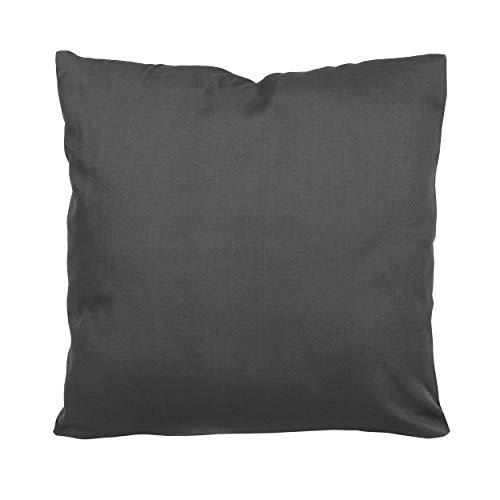 SHC Textilien Satin Kissenbezüge  Kissenbezug   Kissenhülle   Zierkissenbezüge als Doppelpack mit Reißverschluss aus 100{825bac33e1e60bd4c1a39f0609a73b8e13f93fa72d2d4927afc1ca8532999a29} Baumwolle 80x80 cm grau