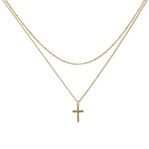 Osiana Gold Mehrreihige Halskette mit Kreuz Anhänger, Kreuz Kette für Damen