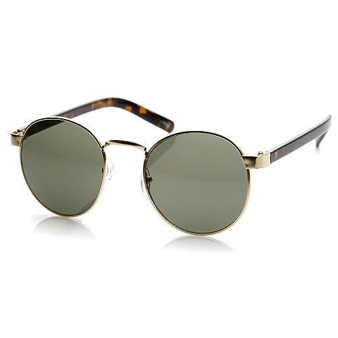zeroUV - Classic Lennon Style Circular Metal Round Sunglasses (Gold-Tortoise Green)