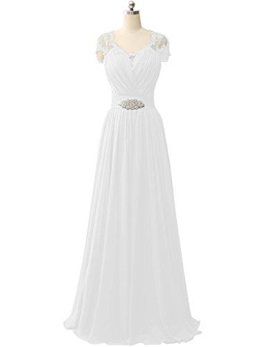 HUINI Spit ?rmel V-Ausschnitt Chiffon Prom Abendkleider Hochzeit Formale Partei Kleider Weiß
