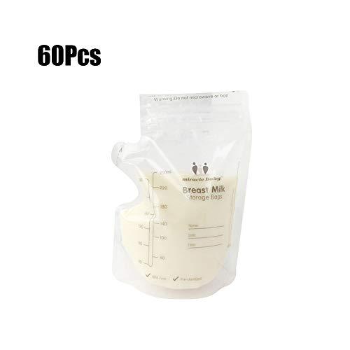Lebeaut 60 Stücke 250 ML Babynahrung Einweg Muttermilch Aufbewahrungsbeutel Bequem Kind Muttermilch Gefrierbeutel