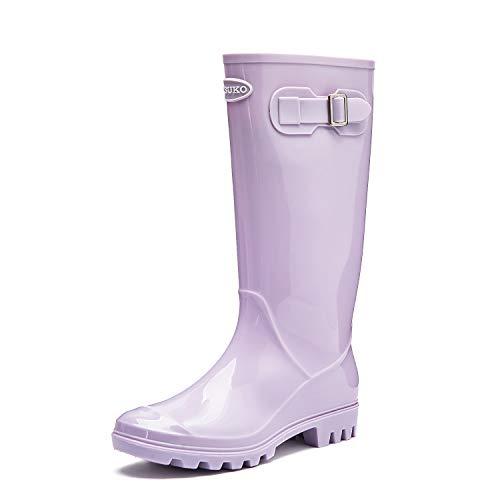 DKSUKO Damen Langschaft Gummistiefel Regenstiefel Flach Kniehoch Stiefel Wellies Wellington Boots Women (36 EU, Lila) Womens Wellington