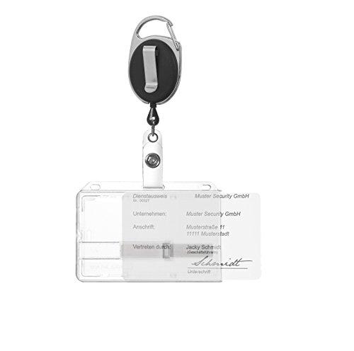 Ausweishülle Ausweishalter Kartenhalter für eine Karte aus Hartplastik mit transparentem Schieber und Ausweisjojo schwarz mit Karabiner- und Ansteckerclip
