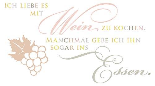 Wandtattoo Pastell Ich liebe es, mit Wein zu kochen Humor Deko bunt