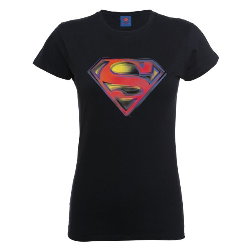 DC Universe Damen Comics Official Superman Stencil Logo Womens T-Shirt Schwarz